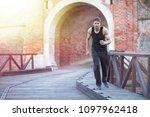 urban fitness man jogging in...   Shutterstock . vector #1097962418