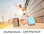 love couple at the airport says ... | Shutterstock . vector #1097967419
