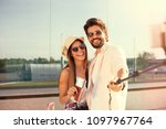 young hipster couple note... | Shutterstock . vector #1097967764