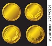 set of gold medals in the vector | Shutterstock . vector #109797509