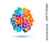 human brain icon of watercolor... | Shutterstock .eps vector #1097978384
