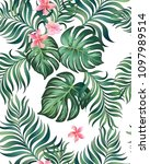 seamless hand drawn exotic... | Shutterstock .eps vector #1097989514