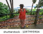 tourists use the camera or... | Shutterstock . vector #1097995904