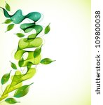 abstract background with fresh green leaves and wave, illustration for your design - stock photo