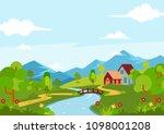 beautiful spring season... | Shutterstock .eps vector #1098001208