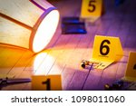 Small photo of Evidence is marked with evidence markers on the floor of a home. A knocked over lamp lays nearby.