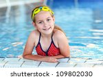 cute girl with goggles in... | Shutterstock . vector #109802030