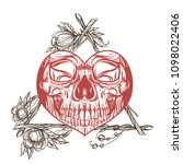 skull contour sketch for tattoo ... | Shutterstock .eps vector #1098022406
