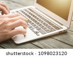 young man writing college or... | Shutterstock . vector #1098023120