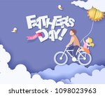 handsome man and his daughter... | Shutterstock .eps vector #1098023963