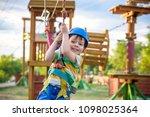 little cute boy enjoying... | Shutterstock . vector #1098025364