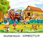 cartoon scene with children on...   Shutterstock . vector #1098027119