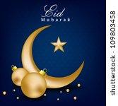 golden moon with star for eid... | Shutterstock .eps vector #109803458