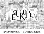 europe postcard template with... | Shutterstock .eps vector #1098035306