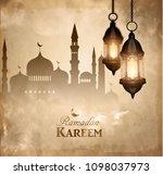 gold vintage luminous lantern | Shutterstock .eps vector #1098037973