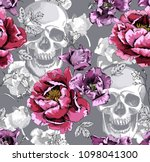 seamless floral pattern. pink... | Shutterstock .eps vector #1098041300