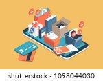 online shopping app  gifts ... | Shutterstock .eps vector #1098044030