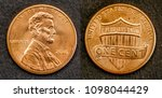coin one cent american dollar of united states with the figure of Lincoln, front and back - stock photo