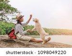 relaxing moments  asian girl... | Shutterstock . vector #1098049220