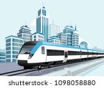 speedy metro passing in front... | Shutterstock .eps vector #1098058880