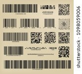 qr codes and barcodes. digital... | Shutterstock .eps vector #1098059006