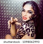 young sexy woman with leopard... | Shutterstock . vector #1098062993