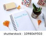 summer plan written in notebook ... | Shutterstock . vector #1098069503