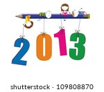 Cute Card On New Year 2013 Wit...