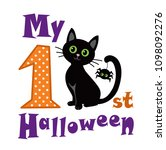 Stock photo my first halloween black cat sitting with a spider raster copy 1098092276