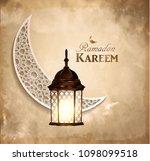 gold vintage luminous lantern | Shutterstock .eps vector #1098099518