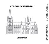 cologne cathedral  germany ... | Shutterstock .eps vector #1098100013