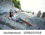 sexy girl in ornaments bocho... | Shutterstock . vector #1098101918