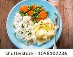 cod fillet in parsley sauce... | Shutterstock . vector #1098102236