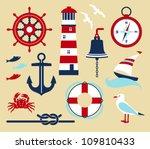 nautical elements in cartoon...   Shutterstock .eps vector #109810433