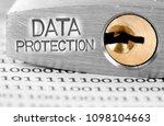 macro photo of padlock and data ... | Shutterstock . vector #1098104663