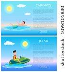 swimming or jet ski  sea rest... | Shutterstock .eps vector #1098105830