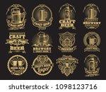 vintage beer labels on black...   Shutterstock . vector #1098123716