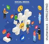 social media isometric concept. ... | Shutterstock . vector #1098125960