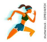 running girl. fitness  sport... | Shutterstock .eps vector #1098146924