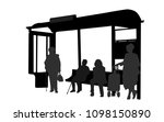 passengers at bus station.... | Shutterstock .eps vector #1098150890