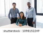 three mix raced office workers...   Shutterstock . vector #1098152249