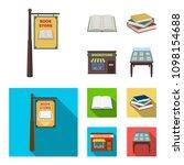 a signboard  a bookstore  a... | Shutterstock . vector #1098154688