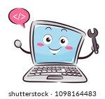 illustration of a laptop mascot ... | Shutterstock .eps vector #1098164483