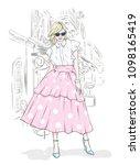 a tall  slender girl in a midi...   Shutterstock .eps vector #1098165419