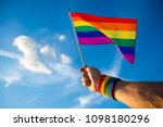 colorful backlit rainbow gay... | Shutterstock . vector #1098180296