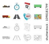 round the clock  road  truck ... | Shutterstock .eps vector #1098181799