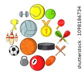 sport icons set in hand drawn... | Shutterstock .eps vector #1098186734