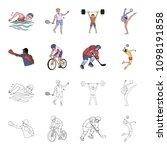 cycling  boxing  ice hockey ... | Shutterstock .eps vector #1098191858