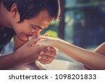 soft focus man kissing woman... | Shutterstock . vector #1098201833