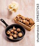 shiitake mushroom on wood table ...   Shutterstock . vector #1098207263
